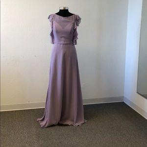 High neck dusty lavender chiffon gown